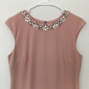 Tahari Dresses - Pink Tahari Midi Dress with Jeweled Collar Size 6